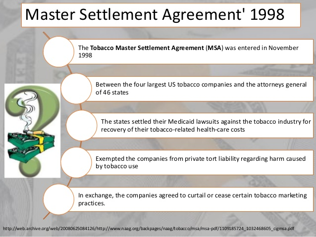 Doc440311 Master Settlement Agreement The Tobacco MSA and – Master Settlement Agreement